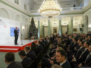 Andrzej Duda podczas przemówienia na gali