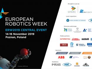 baner europsejskiego tygodnia robotyki. po lewej robot i nazwa wydarzenia, po prawej - logotypy organizatorów i partnerów