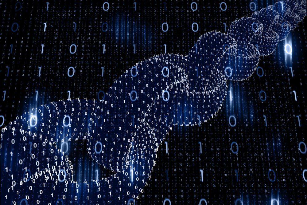 blokchain - wizualizacja technologii w postaci łańcucha, przez który przepływają jedynki i zera