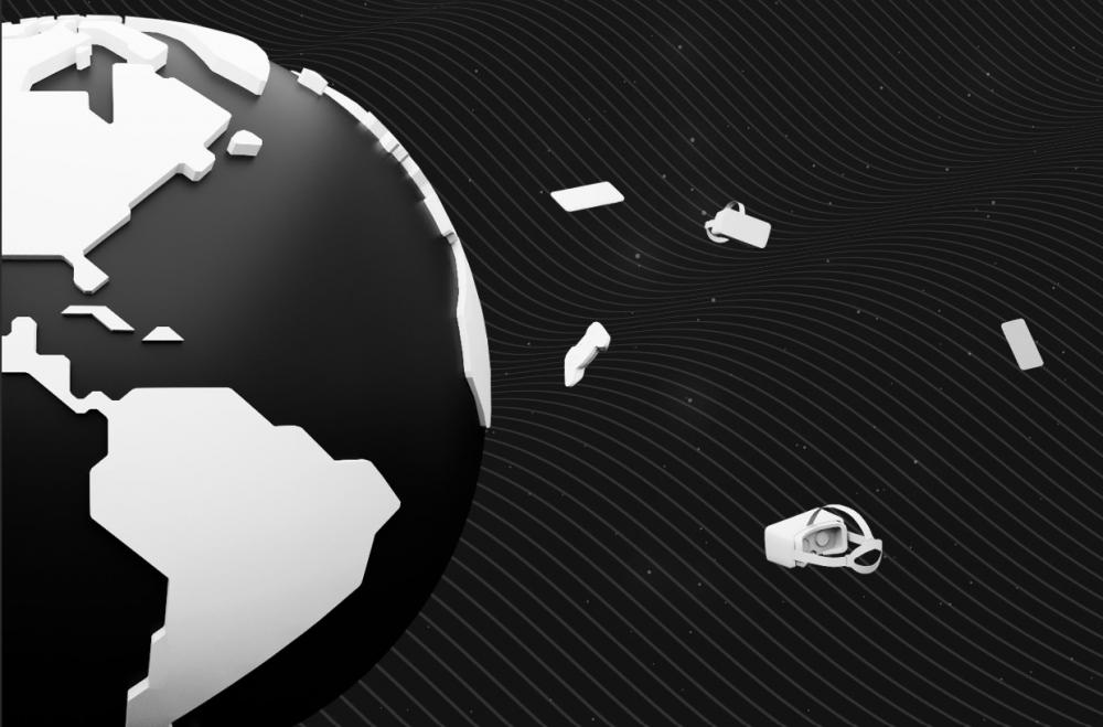 czarno-biały model Ziemi, obok satelity