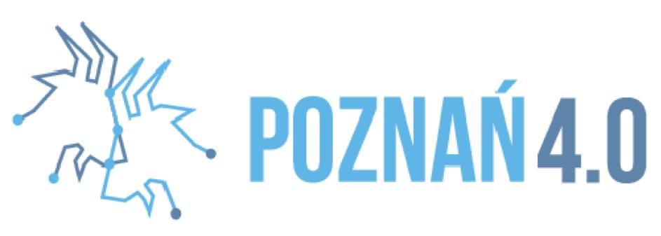 """po lewej kontury koziołków, po prawej napis """"Poznań 4.0"""""""