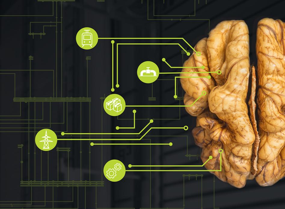 """na ilustracji jest orzech włoski ze względu na jego podobieństwo z ludzim mózgiem. po lewej stronie ikony technologii połączone z """"mózgiem"""" liniami."""