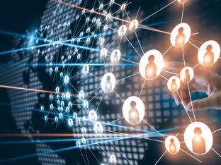 grafika ilustrująca połączenia pomiędzy ludźmi na świecie