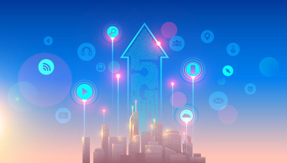 Futurystyczne wyobrażenie miasta z ikonami przedstawiającymi elementy sieci 5G ponad nim.