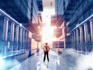 człowiek w wirtualnym centrum danych