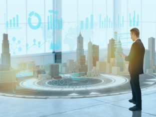 business man use augmented mixed virtual reality integrate artificial intelligence combine deep, machine learning, digital twin, 5G, industry 4.0 technology to improve management efficiency quality