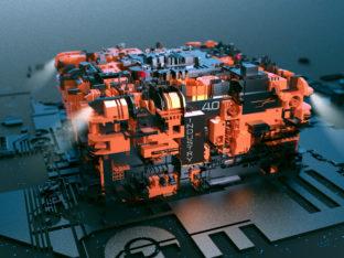 Wirtualny model 3D prezentujący maszynę z napisem industry 4.0