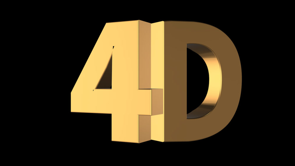 """trójwymiarowy render napisu """"4D"""""""