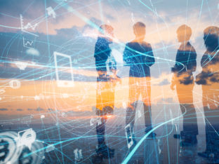 koncept łączący biznes z technologią