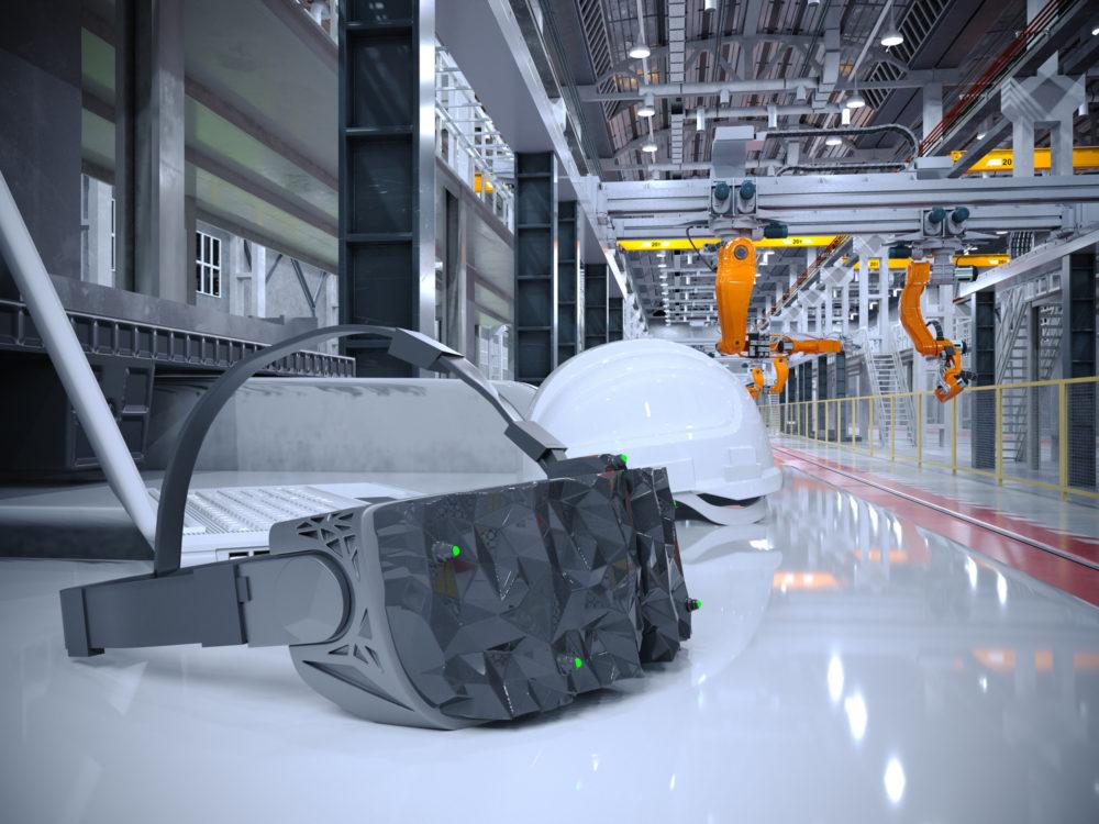 3D illustration of vr helmet and modern factory