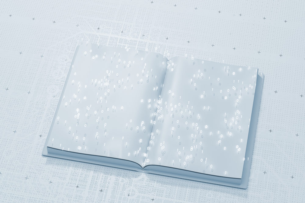 Open book with binary code, 3D generated image.