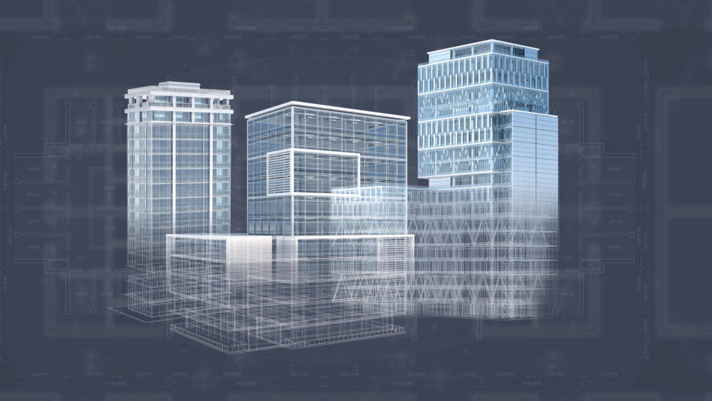 Office buildings background generated with a CAD software for architectural design, showing constuction plans, blueprint and structure. All models and plans are available in my portfolio.