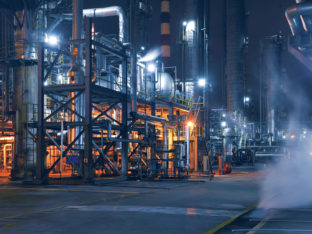 Chemical & Petrochemical plant abstract at night.